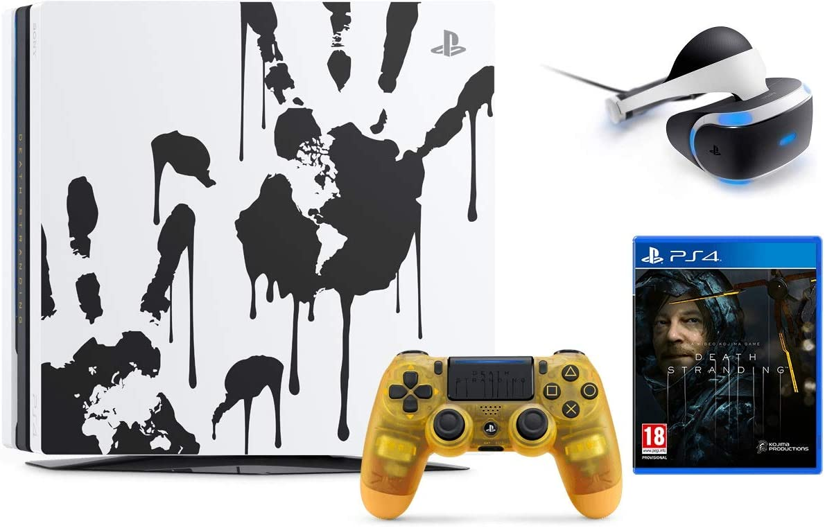 Amazon Com Newest Sony Playstation 4 Pro 1tb Limited Edition Death Stranding Console Bundle W Playstation Vr Core Headset Computers Accessories
