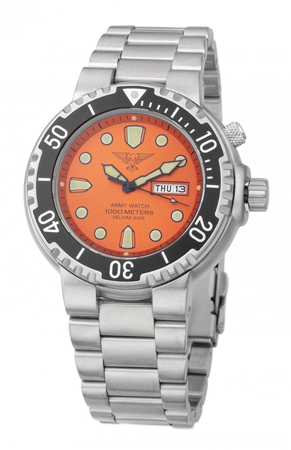 Army Watch Taucheruhr - 100 ATM-1000 Meter - Edelstahlband - Orange - EP842