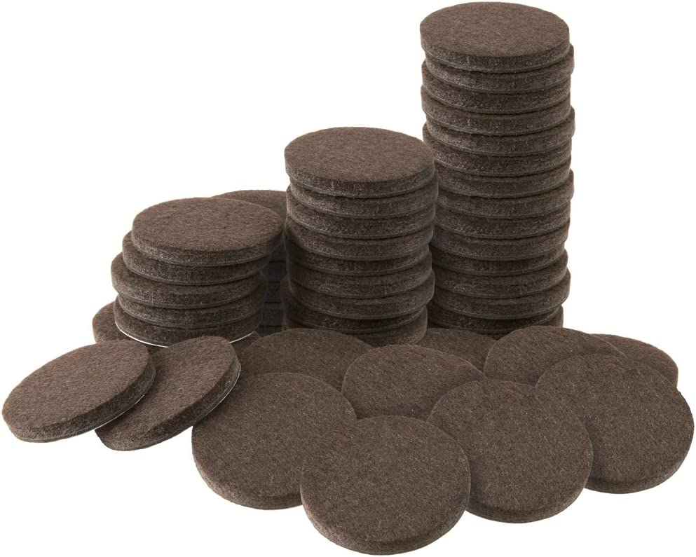 """Soft Touch 4728695N Self-Stick Felt Pads Surfaces – Protect your Hard Floors from Furniture Scratches, 1"""" Walnut Brown, Round (48 Pieces), 1 Inch"""