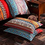 "HNNSI Exotic Striped Bohemia Pillow Shams Queen Size 2 Pieces,100% Brushed Cotton Thick Boho Pillow Cases Bohemian Pillow Covers,19"" x 29"""