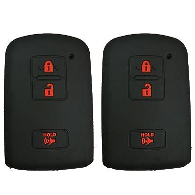 Coolbestda 2Pcs Rubber Smart Key Fob Remote Cover Case Protector Keyless Jacket for 2016 2020 Toyota Tacoma Land Cruise Prius V RAV4 3buttons Key Black: Automotive