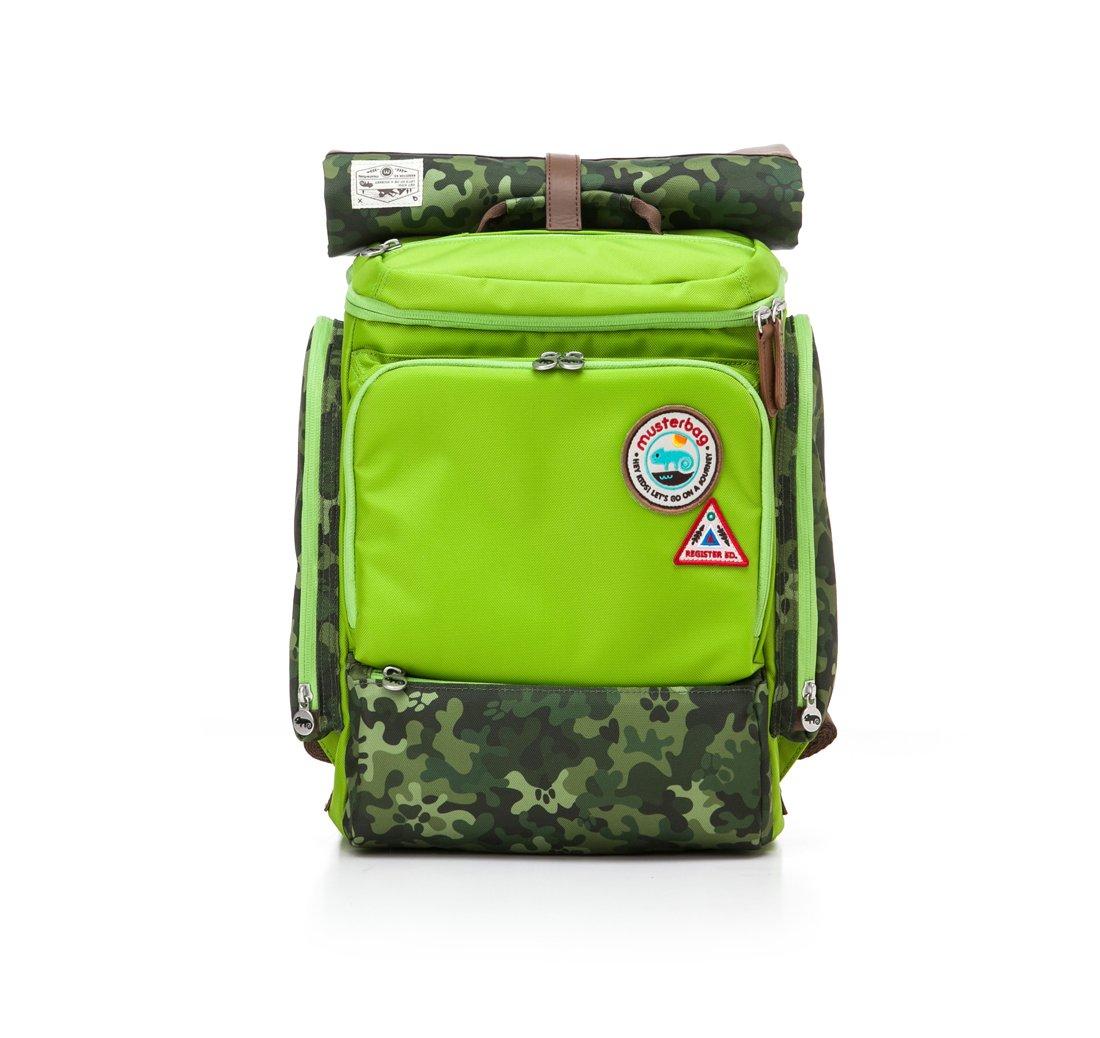 Muster bag Kids Backpack + Cross Bag Set - Trendy Camouflage Pattern School Backpacks For Girls Boys Kids Elementary Middle School Bags Cute Bookbag Outdoor Daily bag (Green)