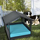 LEAPTIME Patio Furniture PE Rattan Pet Home Outdoor Patio Dog House Day Bed w/Roof Black Wicker Bed with Cushion-Turquoise For Sale