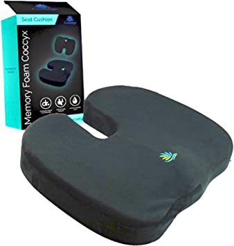 Coolidge Premium Quality Seat Cushion Comfort Memory Foam Coccyx Car and Office Seat Cushion Designed for Back Support Sciatica and Tailbone Pain