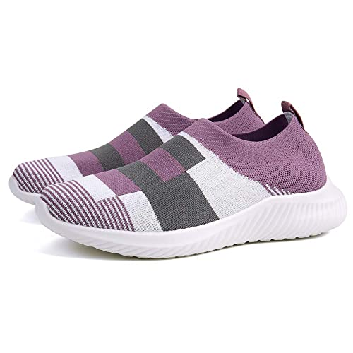 Buy Women's Casual Color Block Walking Shoes Lightweight Breathable Mesh  Athletic Running Shoes Fashion Slip-on Sock Sneakers Comfort Work Purple at  Amazon.in
