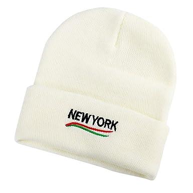Gorro de Punto Invierno para Mujer Sombrero de Lana niñas Beanie Gorras Unisex Gorros Bandana Sombreros para Aire Libre Hat, Estampado New York: Amazon.es: ...