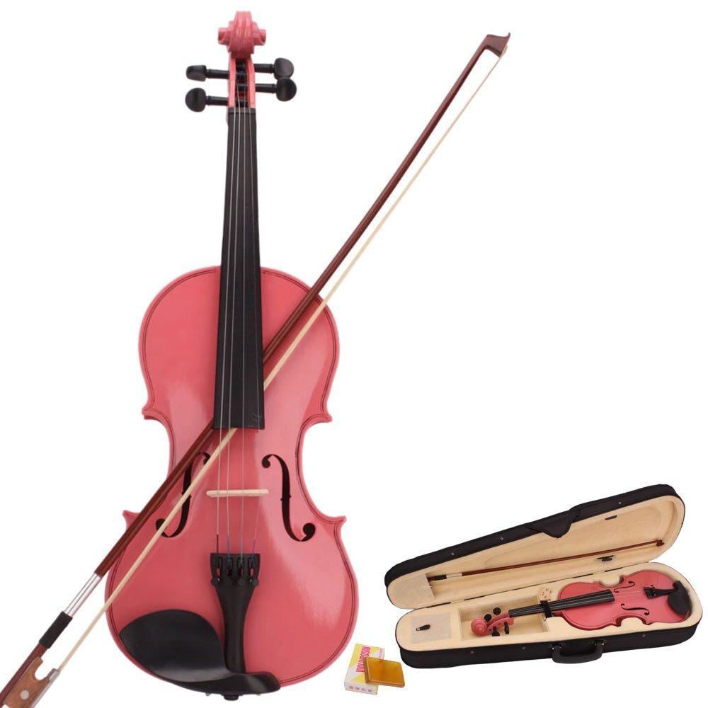 Teekland New 4/4 Natural Acoustic Violin & Case & Bow & Rosin for Violin Beginner (pink)