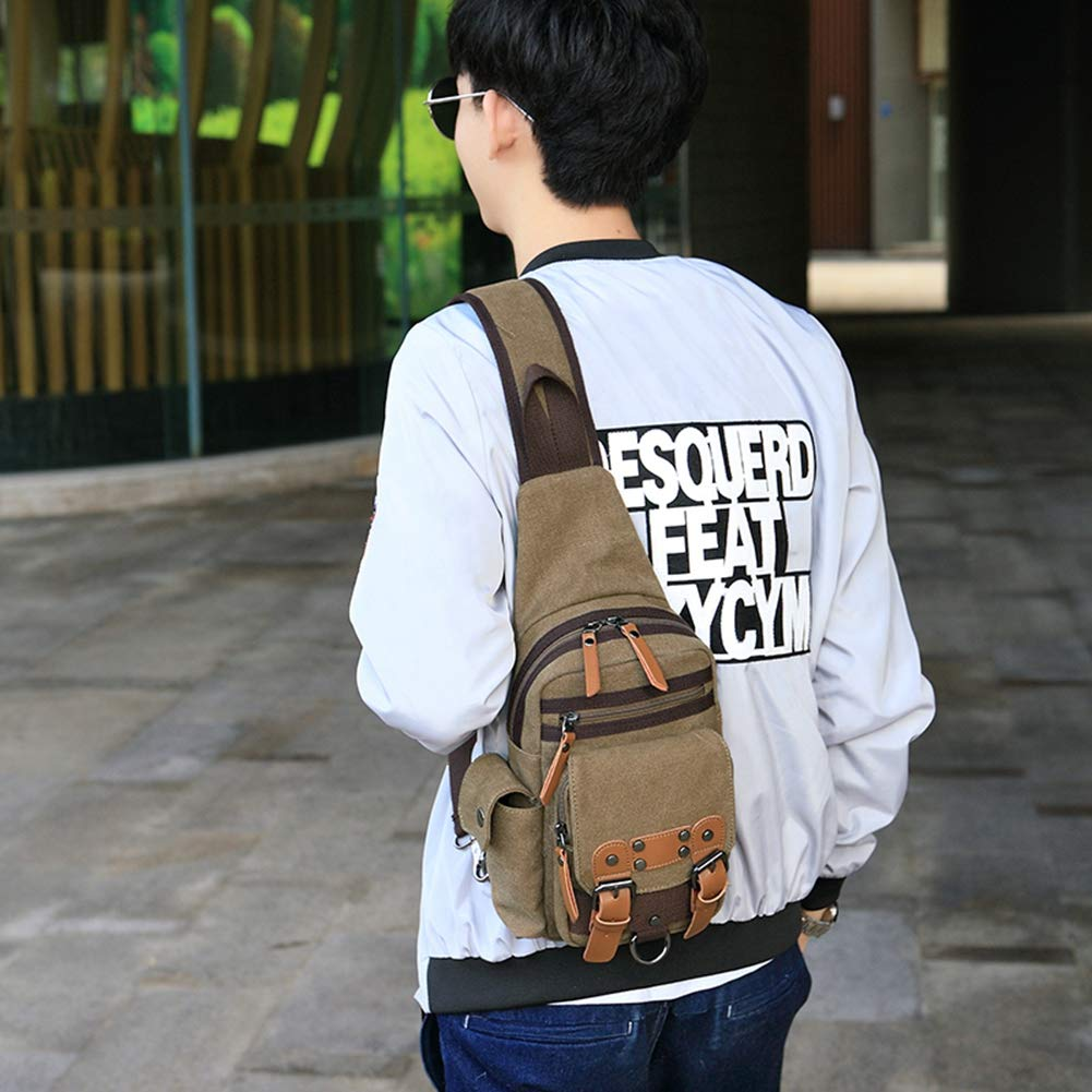 AHWZ Shoulder Bag Messenger Bag Mens Chest Bag Canvas Bag Shoulder Messenger Handbag Casual Bag 9.872.7 Inches