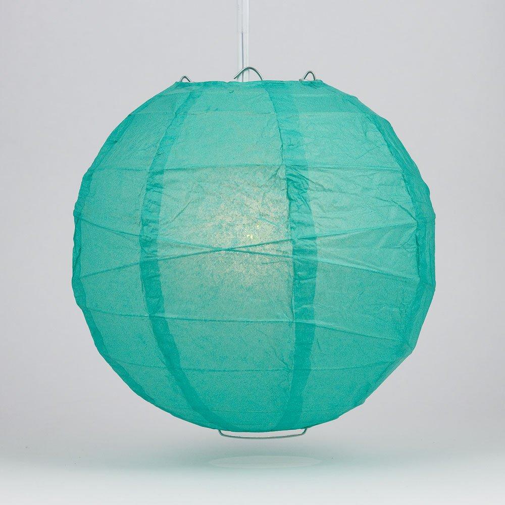 Quasimoon PaperLanternStore.com 8'' Teal Green Round Paper Lantern, Crisscross Ribbing, Hanging Decoration
