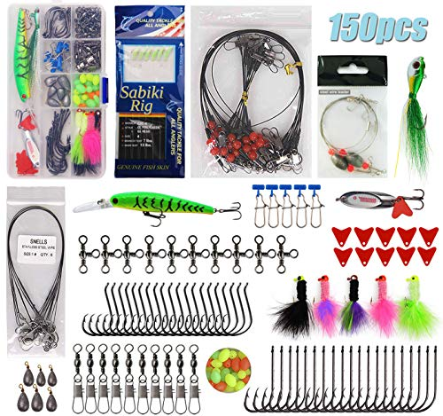 150pcs Saltwater Fishing Lures Surf Fishing Tackle Kit - Sabiki Bait Rig, Fishing Circle Hooks, Fishing Swivel Snaps, Hard Bait Minnow, Bucktail Jig, Metal Spoon, Sinker Weight, Various Accessories