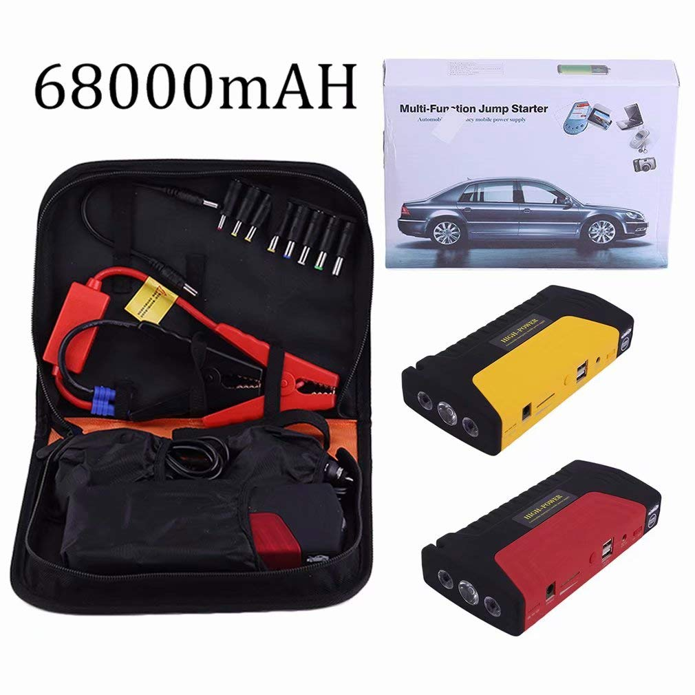 Funnyrunstore 68800ma Multifunctional Portable Cars Auto Emergency Start Car Jump Starter Power Bank With Three Lights Engine Booster(yellow)