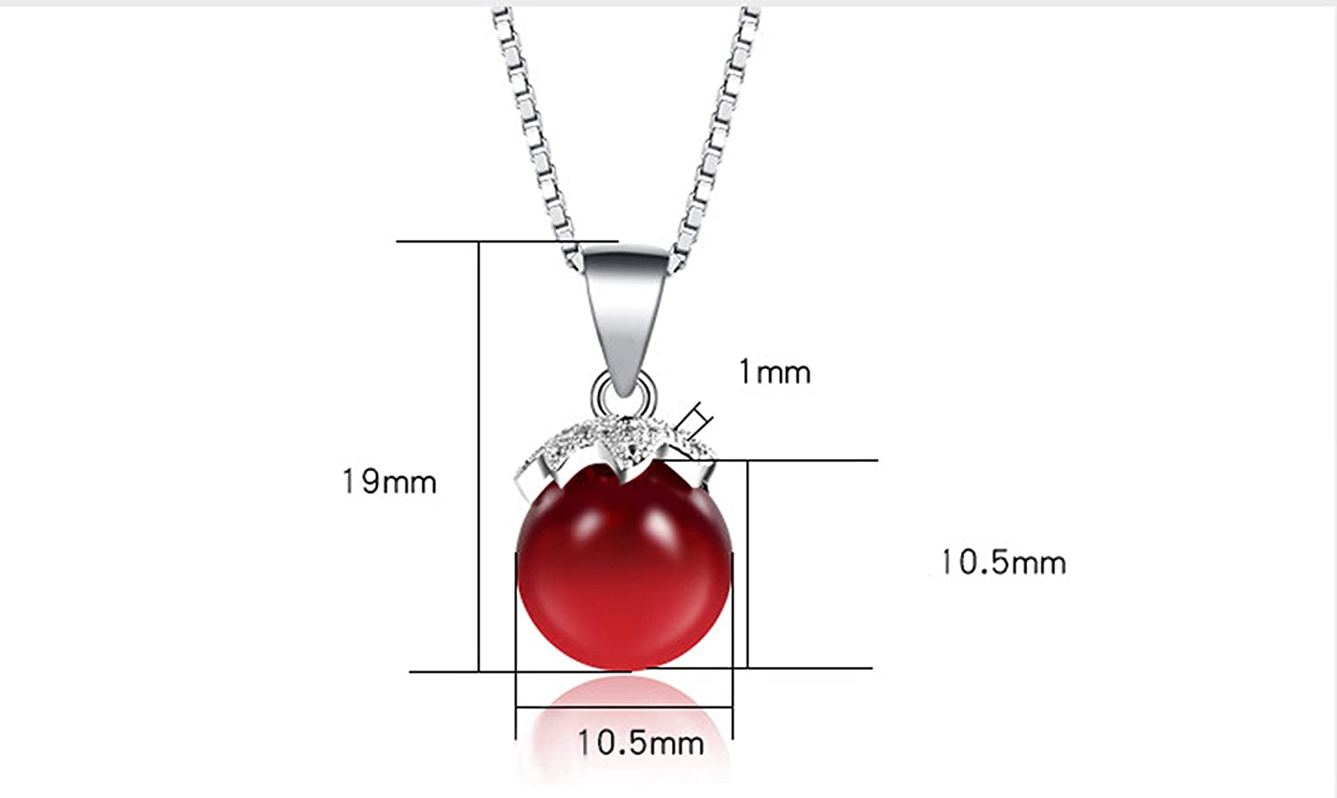 Daesar Sterling Silver Necklaces Chain for Women Red Bead Cubic Zirconia Necklace Pendant Silver