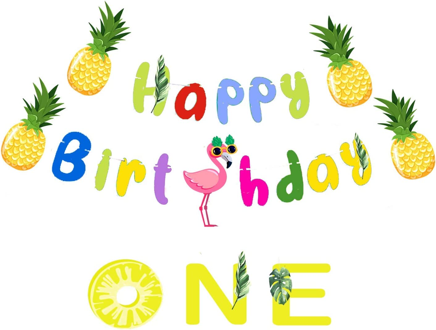 tropical banner Flamingo High Chair banner first birthday happy birthday pineapple
