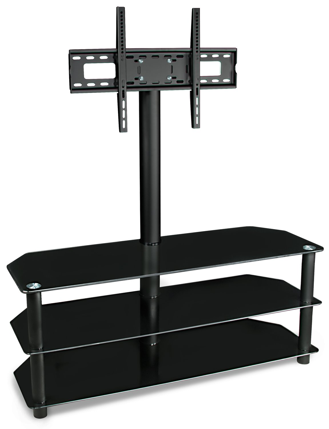 Mount-It! TV Stand with Mount and Glass Shelves for Audio Video - Black