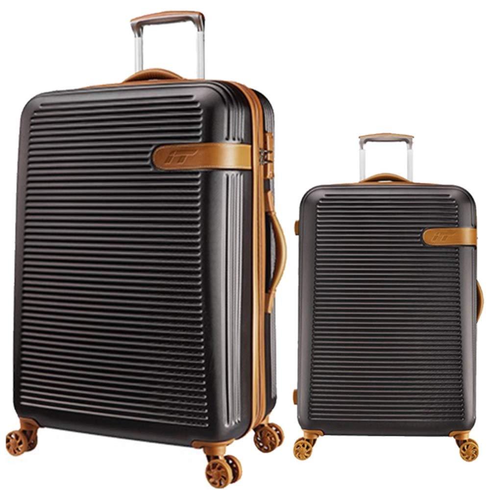スーツケース TSAロックトラベルキャリング付きサイレントローテーター多方向航空機搭乗付きトラベルトラベルスーツケース付き回転セット 週末にスーツケースを運ぶ (色 : ブラック, サイズ : 20in+24in) B07SY7D3BQ ブラック 20in+24in
