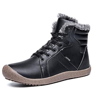 ukStore Herren Damen Winterschuhe Warm Gefüttert Winterstiefel Rutschfest  Wasserdicht Schneestiefel Outdoor Winter Boots Schnür Kurz Stiefel f5dc97a177