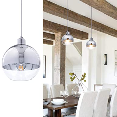 SHENGQINGTOP Modern Glass Globe Pendant Light with 6 Polished Chrome Hand Blown Shape 1-Light Adjustable Mini Glass Kitchen Pendant Lighting Fixture for Kitchen Island Loft Counter Bar Restaurant