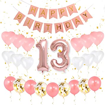 Gihoo 13th Birthday Decorations 13th Birthday Party Supplies For Girls 13 Number Balloon Rose Gold Pink Happy Birthday Banner Sweet Heart Latex