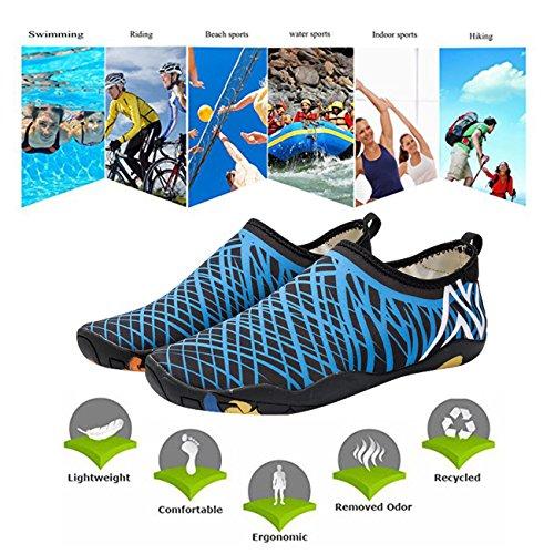 Panegy Männer Frauen Mutifunctional Barfuß Flexible Quick-Dry Wasser Haut Schuhe Aqua Socken Blau