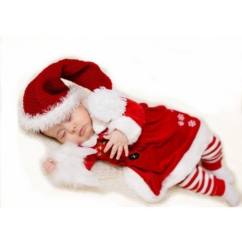 hibote Navidad Bebé de Santa Girls Disfraces Niños de Navidad Conjunto de manga larga Romper Cap hibote Network Technology Ltd