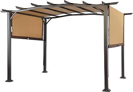 LCH - Toldo retráctil para jardín o patio, marco de acero al aire libre de pérgola de 30,48 x 22,86 cm