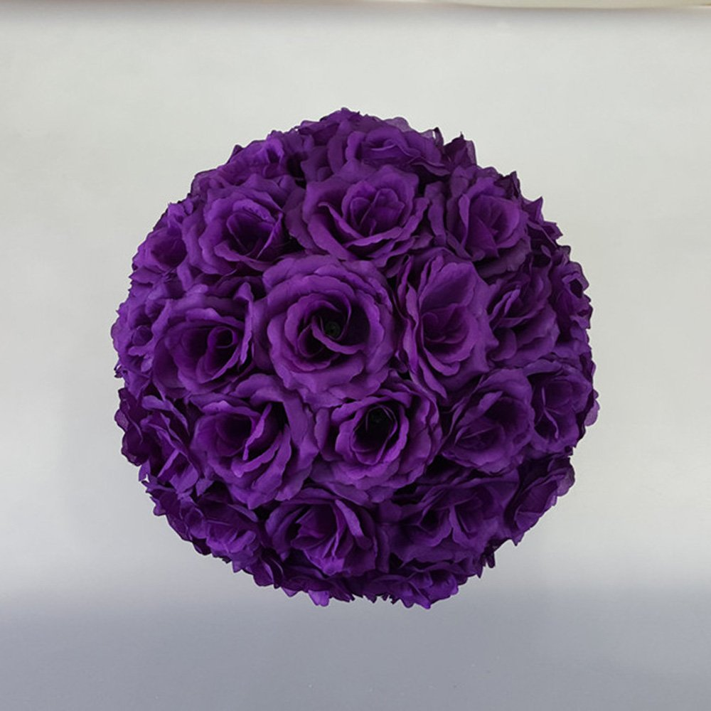 10 Pack 12 inch Artificial Rose Satin Pomander Kissing Balls for Home Wall Wedding Party Ceremony Decoration ,Purple