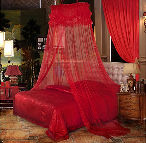 Nattey Red Princess Lace Bedding Mosquito Netting Canopy Bites Protect For Twin Queen King Size Canopies (Red Bed Canopy Netting)