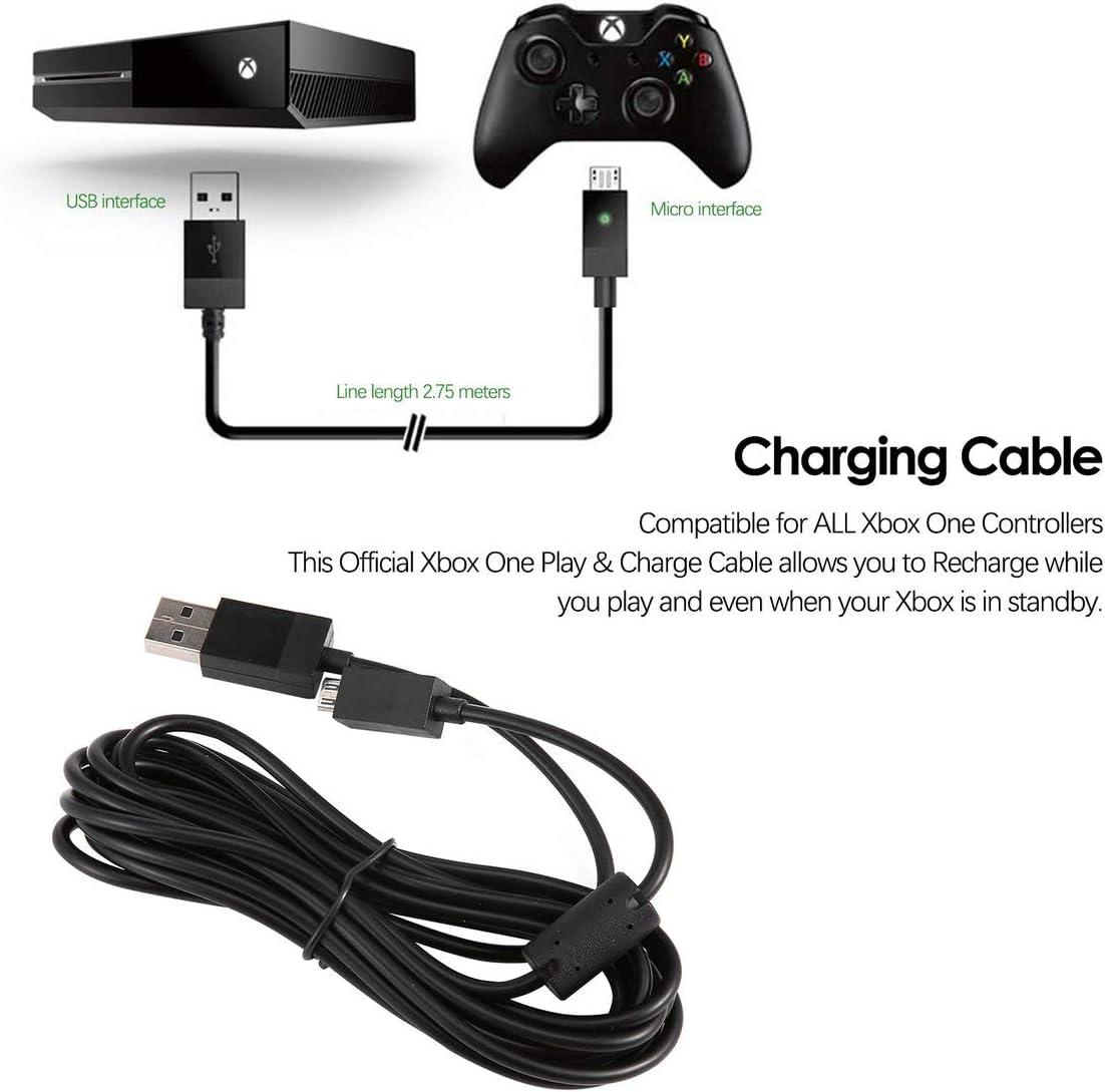 Micro USB Plug Carga & Juega Pad Controller cable de carga para Xbox One 2.75M (negro): Amazon.es: Bricolaje y herramientas
