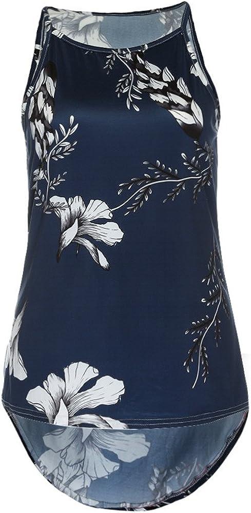 F/_Gotal Women Summer Spaghetti Straps Halter Sleeveless Floral Print Casual Tank Top for Teen Girls Hip Hop