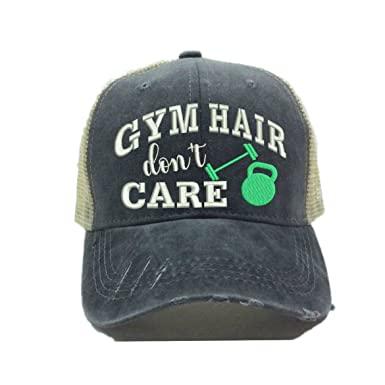 Adult Custom Distressed Trucker Hat Gym Hair Don t Care Fitness ... bf038a90b427