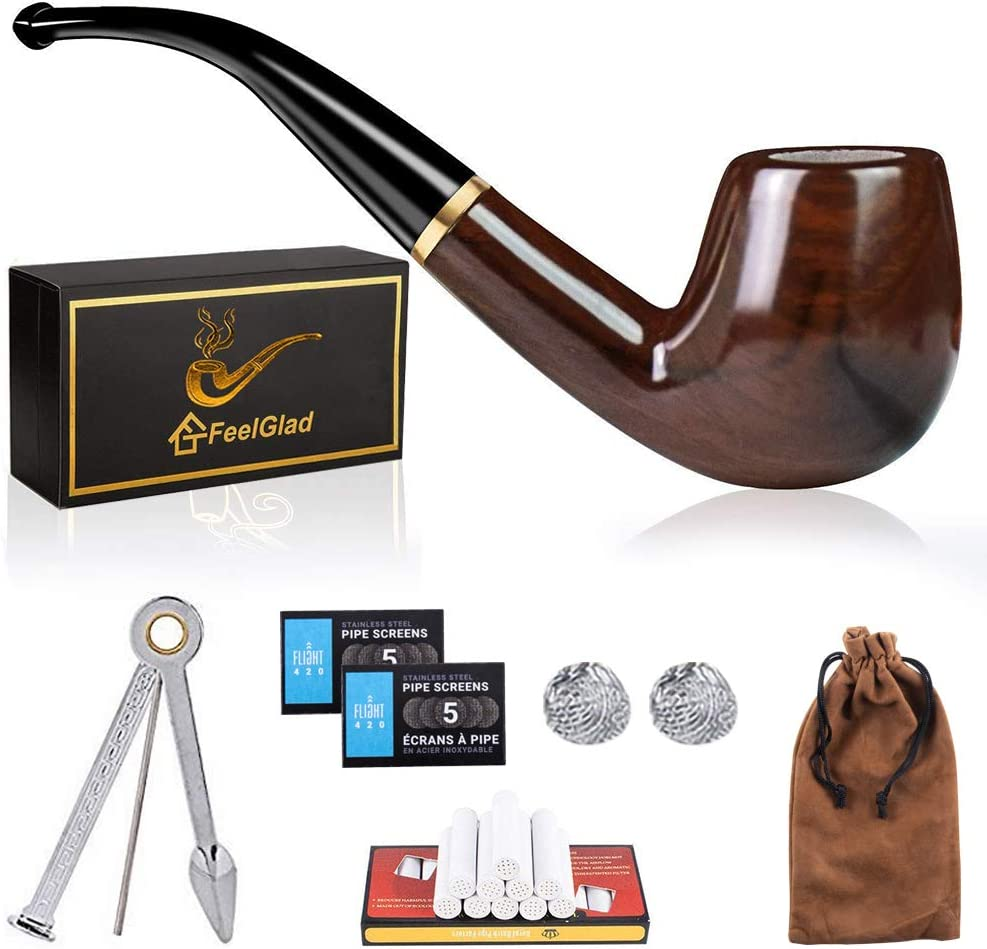 AUPERTO Wooden Smoking Pipes Set Pipe Metal Screen with Gift Box Filter Element Tobacco Pipe Kit with 6 Kinds Smoking Accessories Pipe Scraper Pipe Bowl Screens Pipe Cleaners