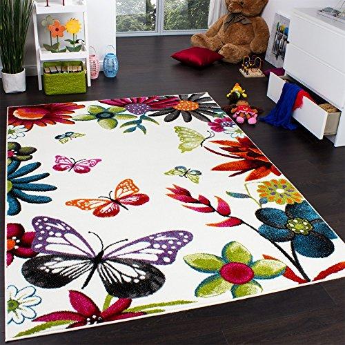 Teppich Kinderzimmer Schmetterling Bunt Kinderteppich Butterfly Creme Mehrfarbig, Grösse:120x170 cm