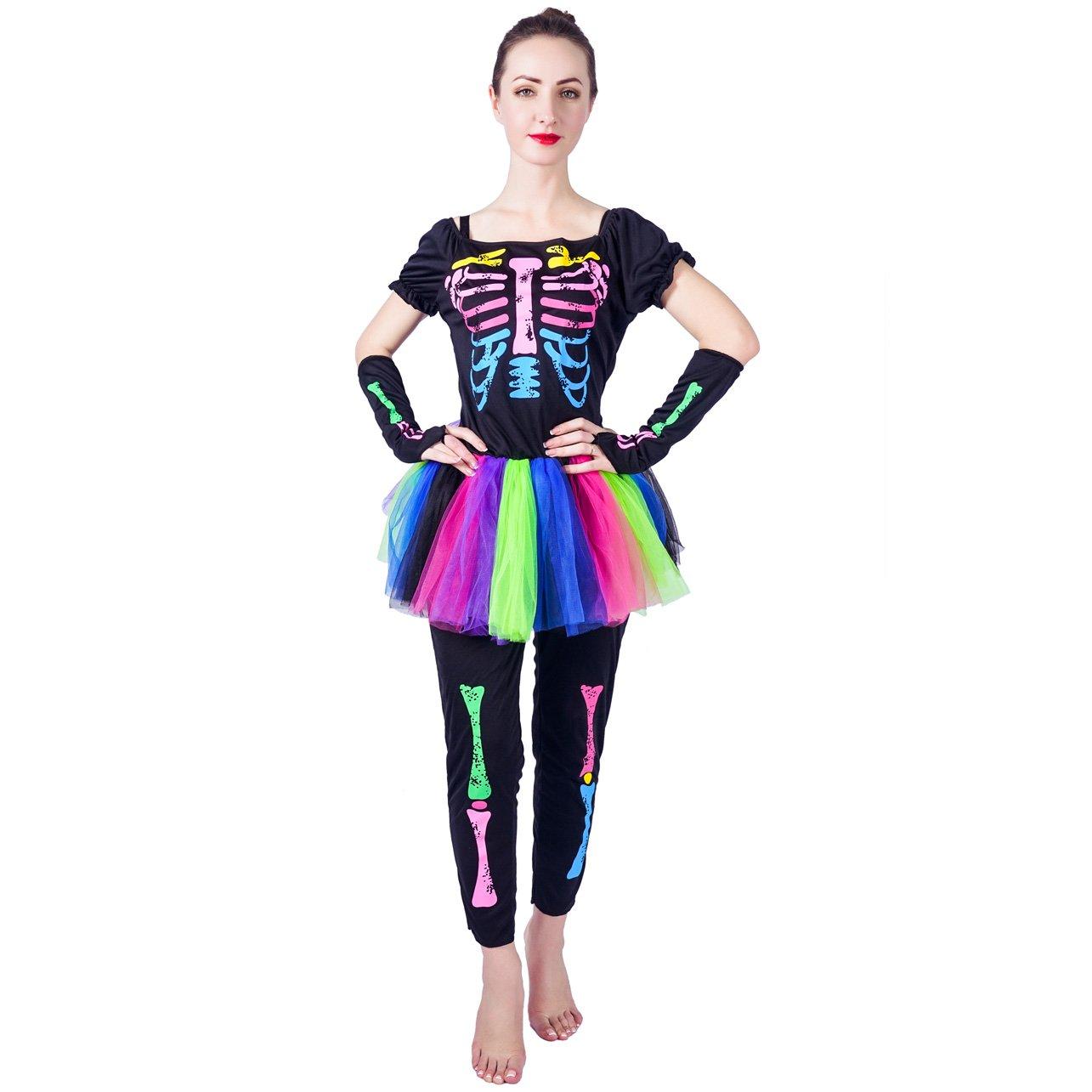 54d8a3e191 Flatwhite womens colorful skeleton costumes clothing jpg 1285x1285 Womens  skeleton