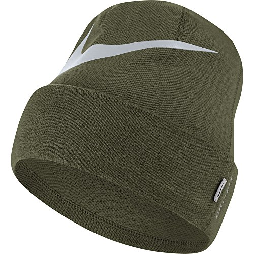 NIKE Unisex Training Beanie, Olive Canvas/Pure Platinum, One - Nike Fit Tennis Dri Hat