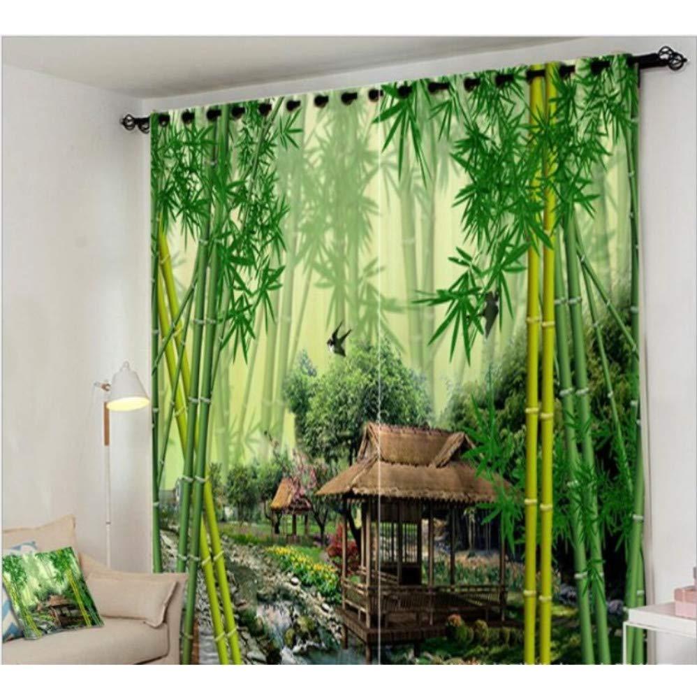 WKJHDFGB Dschungel Brook Green Bambus Vorhang Büro Schlafzimmer 3D Fenster Vorhang Luxus Wohnzimmer Schmücken Cortina Vorhänge Rideaux Kissenbezug,H215Xw200Cm