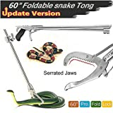 Futureup 60'' Foldable Snake Tongs Reptile Grabber, Rattlesnake Catcher Stick, Wide Serrated Jaw Handling Tool with Auto…