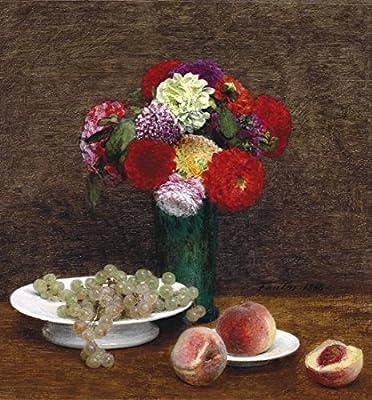 Nature morte Dahlias, raisins et peches By Henri Fantin-Latour. 100% Hand Painted. Oil On Canvas. Reproduction. (Unframed and Unstretched).
