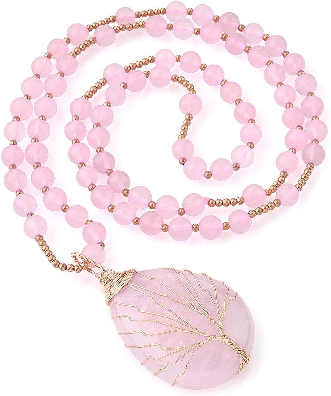 CrystalTears - Collar de Perlas con Colgante de lágrima Ovalada, árbol de la Vida, para Mujer, Piedra de Cuarzo Natural, 71 cm