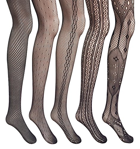 [Amandir 5 Pairs Women Lace Fishnet Stockings Patterned Tights Mesh Net Pantyhose] (Easy Thing 1 And Thing 2 Costumes)