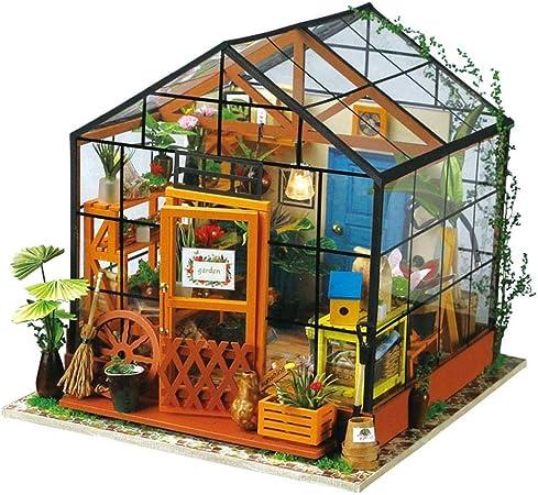 MRR Casa de muñecas Invernadero Modelado Conjunto de Bricolaje Casa de jardín Bolsa de Herramientas de Madera Casa de muñecas Hecha a Mano Decoración de Juguetes Adecuada para niños y niñas: Amazon.es: