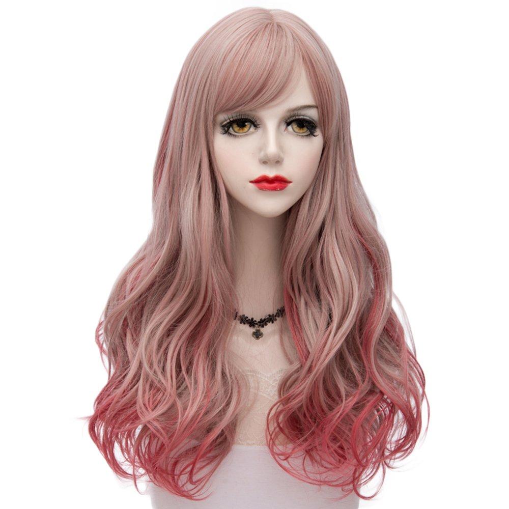Ombre Rot Lang 24 Inches Lockig Hitzebeständig Cosplay Wig Perücke Mode Lolita + Wig Perücke Cap Fantasy Closet