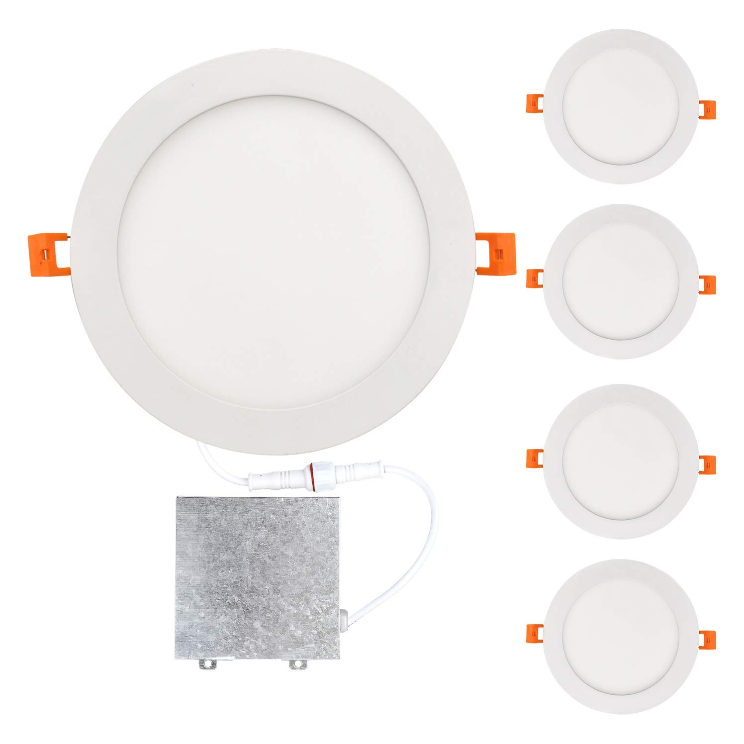 OSTWIN 8 inch 18W (90 Watt Repl.) IC Rated LED Recessed Low Profile Slim Round Panel Light with Junction Box, Dimmable, 5000K Daylight 1350 Lm. No Can Needed, 4 Pack ETL & Energy Star Listed