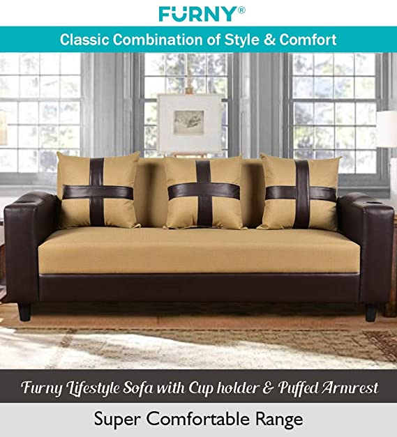 Furny Lifestyle Sofa with Cupholder & Comfy Handrest Sofas & Couches at amazon