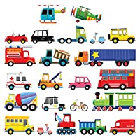 DECOWALL 27 Transports Kids Wall Stickers Wall Decals Peel and Stick Removable Wall Stickers for Kids Nursery Bedroom Living Room(1605 1205 8004 1704)