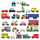 Decowall DS-8004 Transports Kids Wall Stickers Wall Decals Peel and Stick Removable Wall Stickers for Kids Nursery Bedroom Living Room (Small)