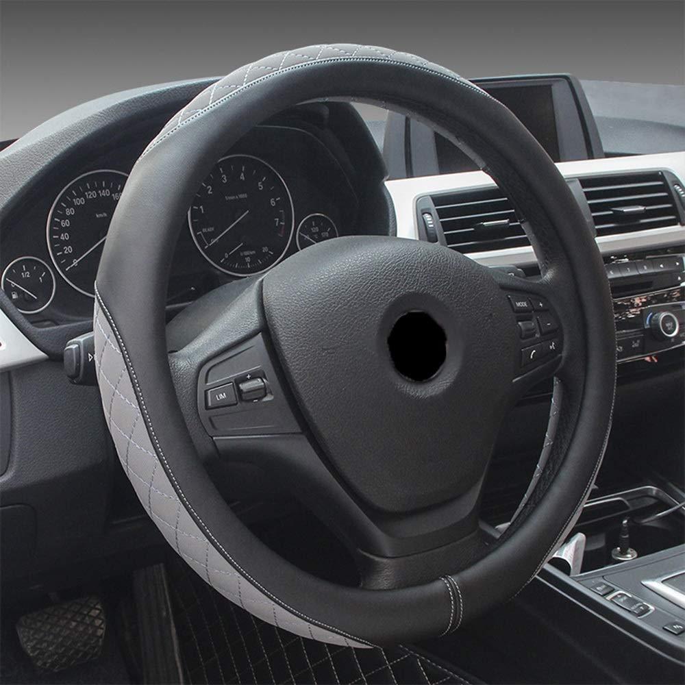 JIANYI Cubierta de Volante de Cuero de imitación de 38 cm para 95% automóvil SUV (Color : Black-Grey)