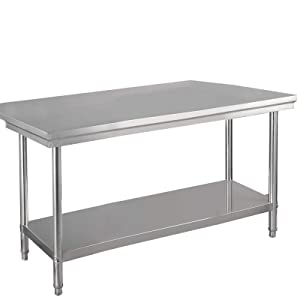 "48"" x 30"" Food Prep Table, NSF Stainless Steel Commercial Kitchen Work Food Prep & Work Table, by WATERJOY"