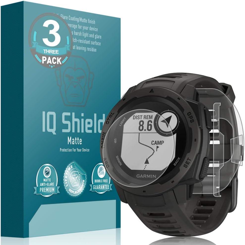 3-Pack Screen Protector and Anti-Bubble Film Full Coverage IQ Shield Matte Full Body Skin Compatible with Garmin Instinct + Anti-Glare