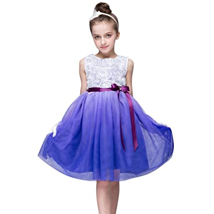 Amazon.com: Kids Girls Flowers Voile Tulle Gradient Color Belted ...