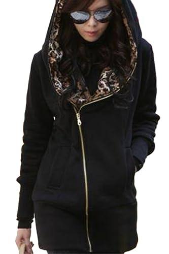 Casual leopardo cremallera de la mujer abierta lado con capucha lana abrigo abrigos